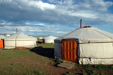 KARAKORUM, MONGOLIA - June 29, 2006: Yurts at the Urguu Ger Camp in Mongolias Gobi Desert. Editorial