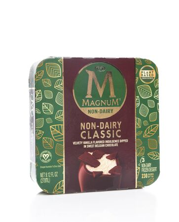 IRVINE, CALIFORNIA - AUGUST 14, 2019: A package of Magnum Non-Dairy Classic Frozen Dessert. 版權商用圖片 - 137608383