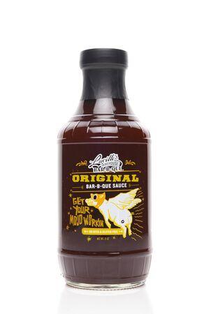 IRVINE, CALIFORNIA - AUGUST 14, 2019: A bottle of Lucilles Original Bar-B-Que Sauce. Sajtókép