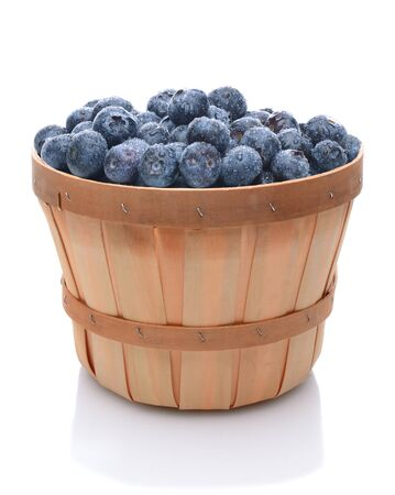 A basket full of freshly picked blueberries over white.