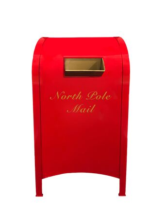 A red and gold North Pole Mail Box for letters to Santa Claus isolated on white Archivio Fotografico - 136726124