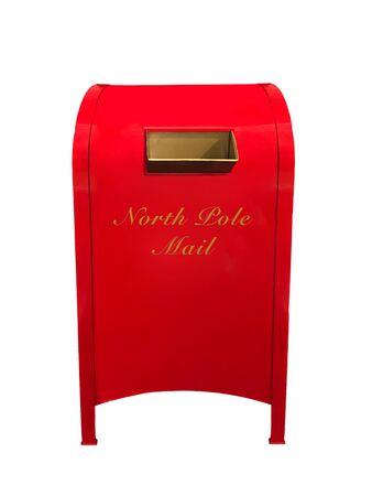 Una cassetta postale rossa e dorata del Polo Nord per lettere a Babbo Natale isolata su bianco