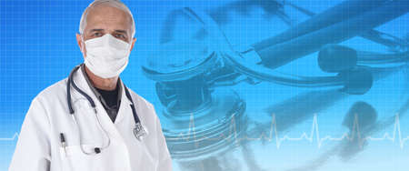 Medical Banner: Doctor wearing a protective mask against disease and COVID-19, Bule background with stethoscope and EKG graph. Stockfoto