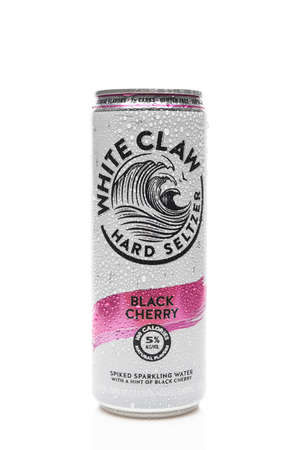 IRVINE, CALIFORNIA - 03 DEC 2019: A can of White Claw Hard Seltzer Black Cherry flavor with condensation.
