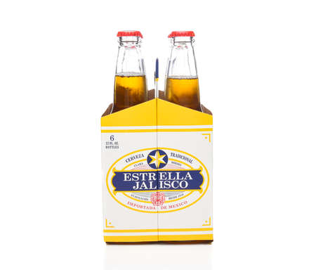 IRVINE, CALIFORNIA - MARCH 21, 2018: Six pack of Estrella Jalisco Beer end view. Estrella Jalisco is a American Lager style beer brewed by Grupo Modelo,