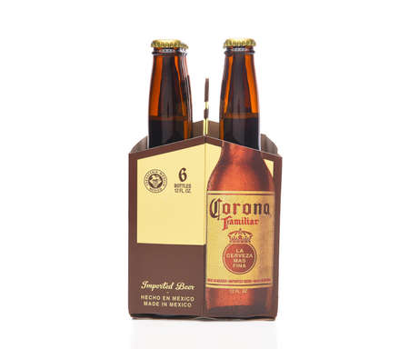 IRVINE, CALIFORNIA - MARCH 21, 2018: 6 pack of Corona Familiar beer end view. Familiar tastes like Corona Extra, but with a richer flavor.