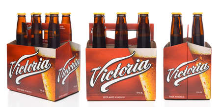 IRVINE, CALIFORNIA - DECEMBER 14, 2017: 6 pack of Victoria Beer Bottles, three views - end, side and 3/4.