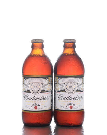 IRVINE, CALIFORNIA - OCTOBER 17, 2018: Two Bottles of Budweiser Copper Lager Reserve Collection. The limited edition beer is aged on Jim Beam Bourbon Barrel Staves.