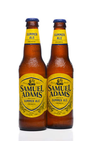 IRVINE, CALIFORNIA - 09 AUG 2020: Two bottles of Samuel Adams Summer Ale with condensation.