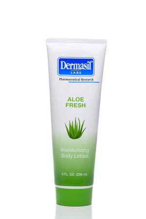 IRVINE, CALIFORNIA - 09 AUG 2020: A tube of Dermasil Aloe Fresh Moisturizing Body Lotion.