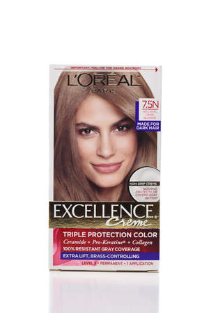 IRVINE, CALIFORNIA - 09 AUG 2020: A package of L'Oreal Paris Excellence Triple Protection Hair Color.
