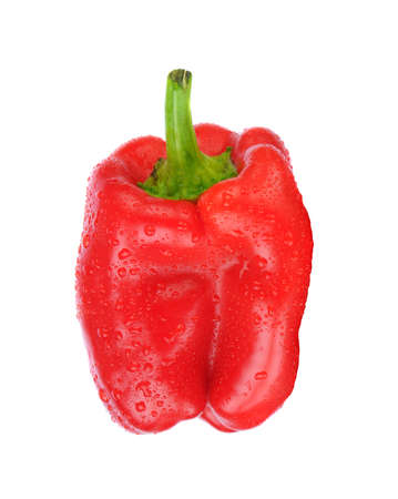 Closeup of a red bell pepper isolated on white. Stockfoto