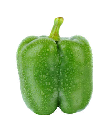 Closeup of a green bell pepper isolated on white.