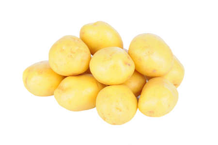 A pile of White Potatoes isolated on white.
