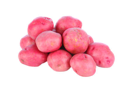 A pile of red potatoes isolated on white. Stockfoto