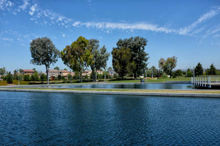 IRVINE, CALIFORNIA - 12 AUG 2020: The Reflecting Pools at the Orange County Great Park.