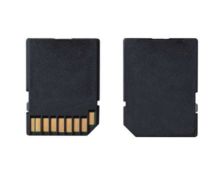 SD memory card closeup, isolated on white.