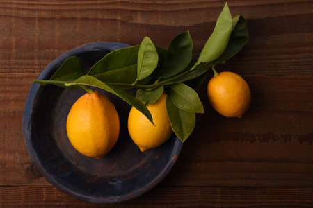 Flat lay still life of a group of fresh picked lemons attached to leaves and stem on a round blue plate. Stockfoto - 161989792
