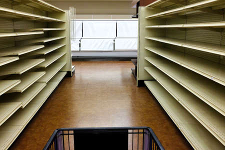 Empty shelves in a grocery store during the covid-19 crisis.