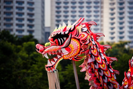 lion dance: Chinese dragon dance Stock Photo