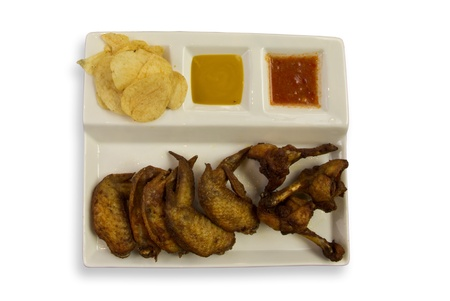 Top view of Fried chicken wings with sauce dip & chips Stock Photo - 9565143