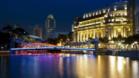 Singapore river in the evening Stock Photo