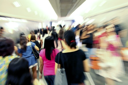 Crowd inside subway train station in motion blur abstract effect Stock Photo - 9565462