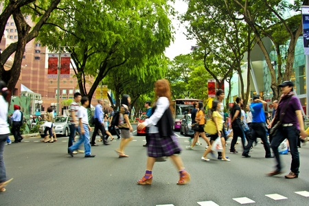 The most popular and busiest road in Singapore, Orchard Road during rush hour