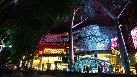 Ion Mall Shooping Centre in Singapore during night with colorful lights