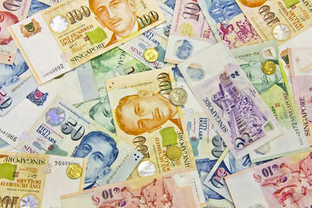 Singapore money in various nominals Stock Photo