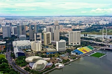 riverside landscape: Singapore skyline aerial shot