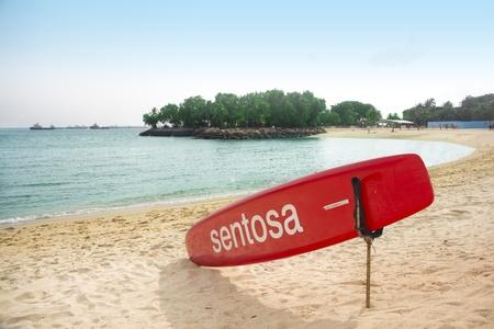 Singapore - July 29, 2011: A bright sunny day at Sentosa Beach Singapore