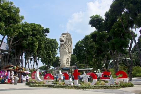Singapore - Sentosa Island - July 29, 2011 - Singapore icon, The Merlion at Sentosa Resort Island