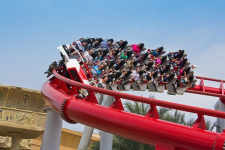 Singapore - 18 Sept 2011 Battlestar Galactica Roller coaster riders are screaming in thrills Stock Photo - 13455378