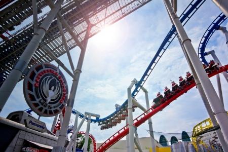 Singapore - 18 Sept 2011 The first duel roller coaster, Battlestar Galactica at Universal Studios Singapore Stock Photo - 13455371