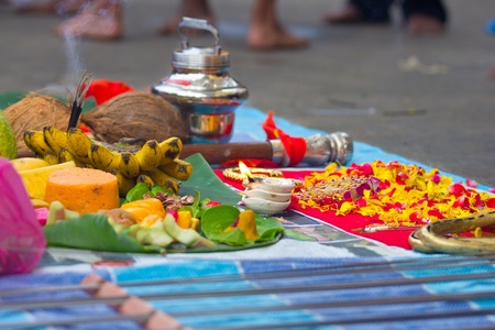 Beautiful traditional offerings for prayer on the occassion of India photo