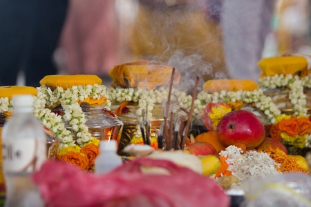 Beautiful traditional offerings for prayer on the occassion of India