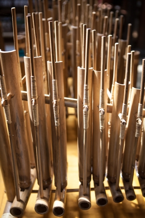 Angklung, traditional music instrument from Indonesia, handmade made from bamboo Stok Fotoğraf - 13747422