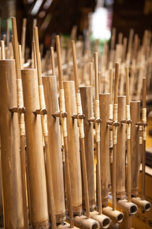 indonesian: Angklung, traditional music instrument from Indonesia, handmade made from bamboo