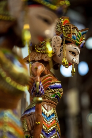 Traditional wooden puppets from Java, Indonesia; Wayang Golek photo