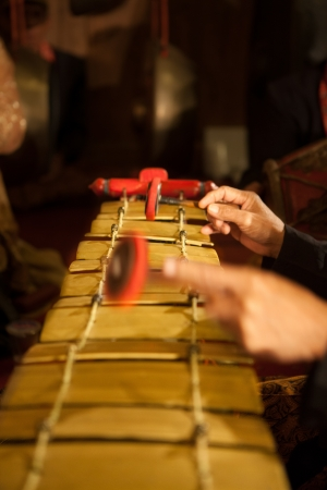 The original Javanese, Indonesian classic musical instrument; Gamelan  Stock Photo