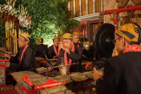 Java Indonesia - 6-5-2012: a Javanese traditional musicians performing original GAMELAN ORCHESTRA on stage