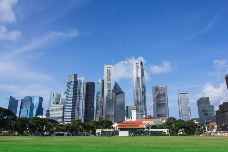 Singapore skyscrapers buildings with blue skies as background