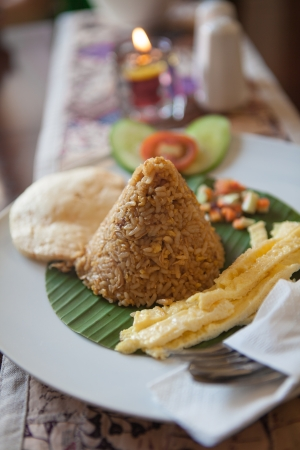 Indonesian traditional breakfast; Nasi Goreng or Fried Rice photo