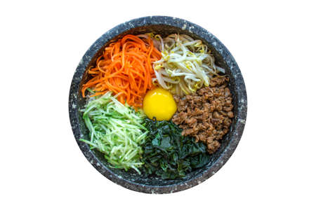 top angle view: Korean traditional food, Bibimbap Stock Photo