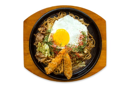 sizzling: Japanese traditional stir noodles with prawn and pork Stock Photo