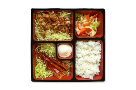 Assorted japanese food bento served in a wooden box Stock Photo - 17047890
