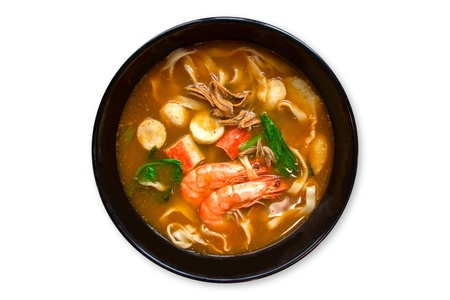 top angle view: Thailand traditional food, Tom Yam Soup Stock Photo