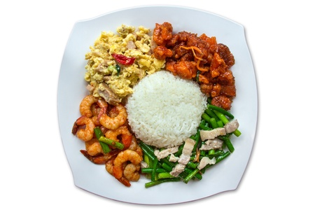 top angle view: Chinese traditional mixed rice, Scissors Cut Rice