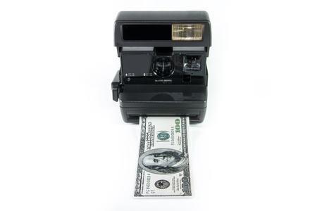 A concept of instant cash or instant money, isolated in white photo
